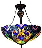 Chloe Lighting CH18780T-UPD2 Tiffany-Style 2-Light Inverted Ceiling Pendant Fixture with Shade - 22 x 18 x 18
