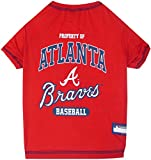 MLB Atlanta Braves Dog T-Shirt, Medium. - Licensed Shirt for Pets Team Colored with Team Logos