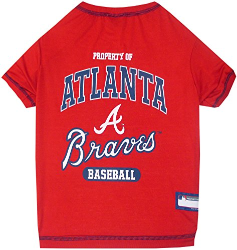MLB Atlanta Braves Dog T-Shirt, Small. - Licensed Shirt for Pets Team Colored with Team Logos
