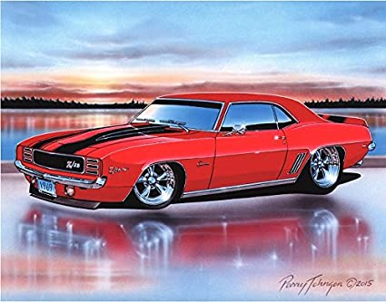 Amazon com: 1969 Chevy Camaro RS Z28 Coupe Muscle Car Art Print Red