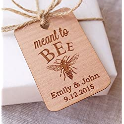 Meant to Bee wedding favor tags, honey favor tags, wedding favor tags, rustic gift tags, thank you tags, personalized engraved favor tags - Set of 25 pieces