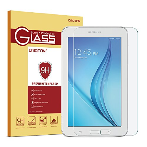 Galaxy Tab E Lite 7.0 / Tab 3 Lite 7.0 Glass Screen Protector, OMOTON Tempered-Glass Protector with [9H Hardness] [Crystal Clear] [Scratch-Resistant] [Bubble Free Easy - Kids 3 Case Tablet Samsung Tab