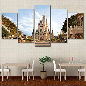 xtszlfj Modern 5 Panel Disneyland Castle Poster Decoration Painting Canvas Print Home Decoration Modular Wall Paintings…