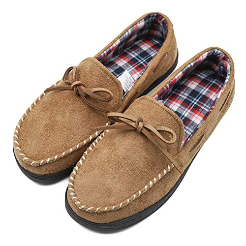 Women's Comfort Memory Foam Moccasin Slippers with Plaid Lining, Breathable Indoor Outdoor Moccasins Loafers, Anti-Slip House Shoes Tan