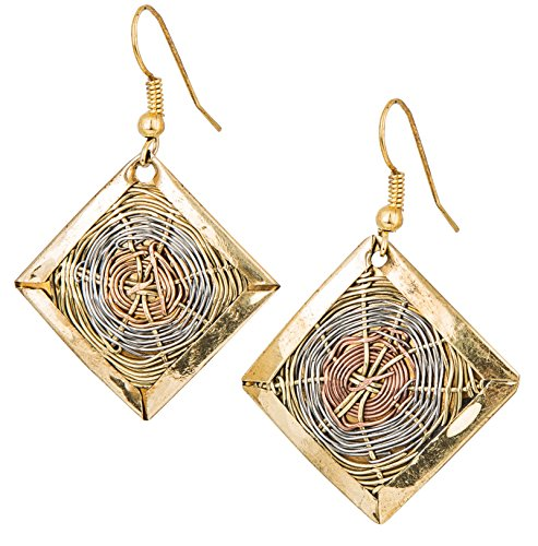 Handmade 3 Toned Basket Weave Earrings | SPUNKYsoul Collection (Diamond)