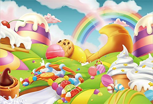 AOFOTO 5x3ft Fantasy Candy Land Landscape Background Cartoon Ice Cream Dessert Lollipop Photography Backdrop Rainbow Birthday Party Decoration Banner Photo Studio Props Kid Baby Girl Vinyl Wallpaper -