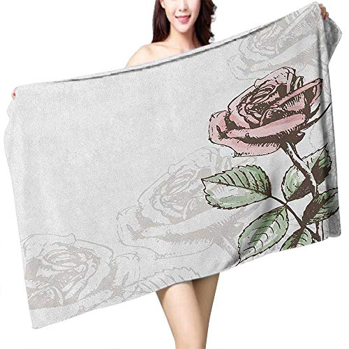 Towel Rose Stem - Sauna Towel Rose Victorian Antique Design Sketchy Stem with Blossom and Faded Flourish W10 xL39 Suitable for bathrooms, Beaches, Parties