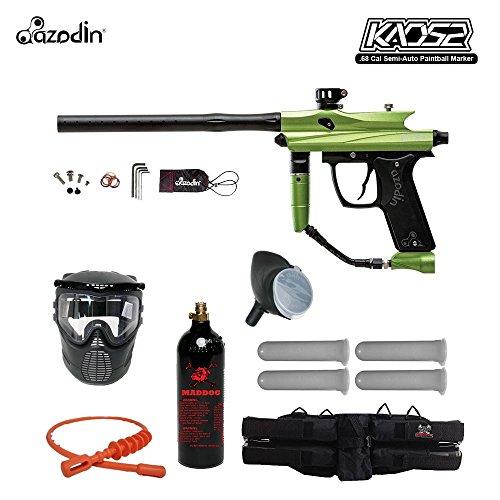 Azodin Kaos 2 Silver Paintball Gun Package - Green / Black