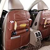 Pevor Car PU Leather Seat Back Organizer Storage Backseat Multi-Pocket iPad Phone Holder (Brown)
