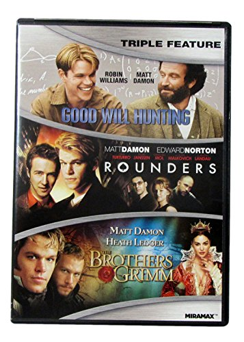 Matt Damon Triple Feature DVD with Good Will Hunting, Rounders & The Brothers Grimm