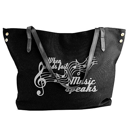 Words Shoulder Handbag Canvas Music Women's Messenger Bags Tote Black Large Fail Speaks When tYtAq