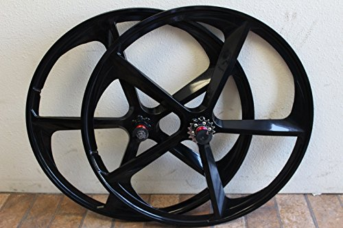 R4 700C 5-Spoke Magnesium Rims Single Speed Complete Bicycle Sealed Wheel Set (Black)