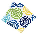 "T-fal Textiles Highly Absorbent 100% Cotton Double Sided Printed Dish Cloths, 12"" x 12"", Set of 2, Medallion Cool Pattern"