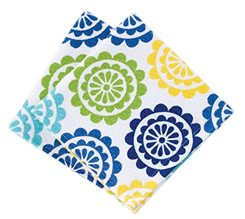 Textiles Kitchen (T-fal Textiles Highly Absorbent 100% Cotton Double Sided Printed Dish Cloths, 12