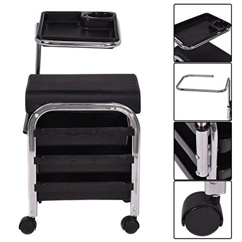 Marketworldcup Black Pedicure Manicure Nail Cart Trolley Stool Chair Salon SPA With Shelves New (Stool Bailey)