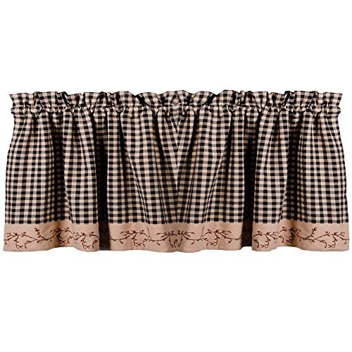 Berry Vine Check Valance - Black (Primitive Berry)