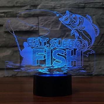 Amazon.com: 3d Go de pesca de noche 7 Cambio de color de luz ...