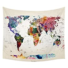 Maphissus Map Wall Hanging Tapestry Polyester Square Home Decor Wall Hanging Retro Watercolor World Map for Shawl Beach Towel Hanging Bed Bedding Retro Watercolor