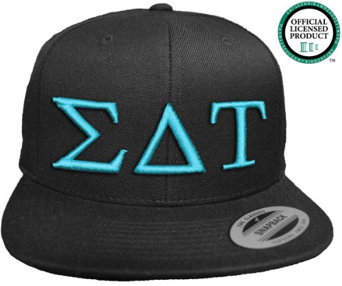 SIGMA DELTA TAU Flat Brim Snapback Hat Turquoise Letters / SDT   Sig Delt   Sorority Cap