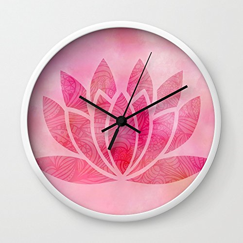 Society6 Zen Watercolor Lotus Flower Yoga Symbol Wall Clock White Frame, Black Hands