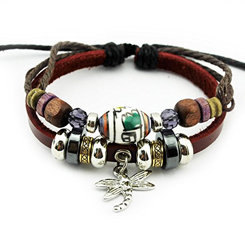 Vicheer fashion Leather Cuffs Dragonfly Charm Beaded Wrap Bracelet
