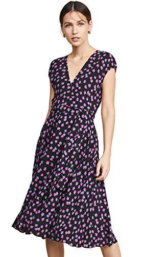 (Diane von Furstenberg Women's Goldie Dress, Swirling Berry Black,)