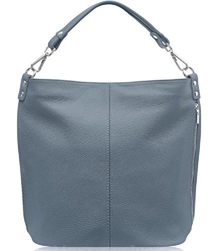 cross Women Jinne Denim Leather 100 Body Real Gift Luxury Shoulder Di Blue Montte bag Italian large For Tote zqAxZfww5