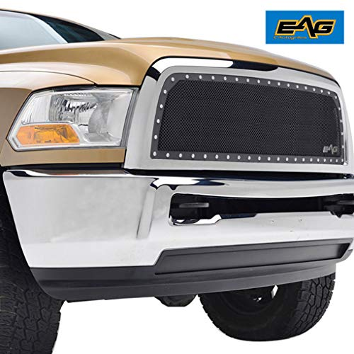 EAG Black SS Wire Mesh Replacement with Chrome Shell Fit for 13-18 Dodge Ram 2500/3500