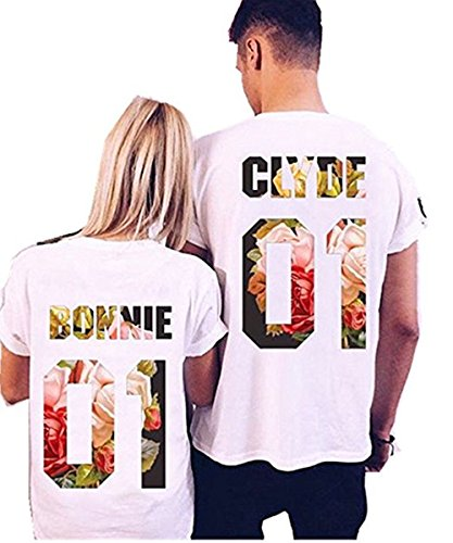 Coutgo Clyde+Bonnie 01 and King+Queen 09 Matching round neckT-Shirts, Couple Outfit (White) (Couples Outfit)