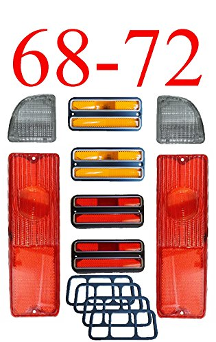 68-72 Chevy 8Pc Tail Light Kit W/ Deluxe Chrome Side Lights 68 Tail Light Panel