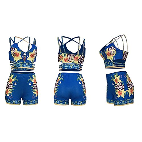 7429048356d Fadvanes Womens Sexy Two Piece Outfits Bodycon Shorts Set and Floral Print  Strap Crop Top Summer