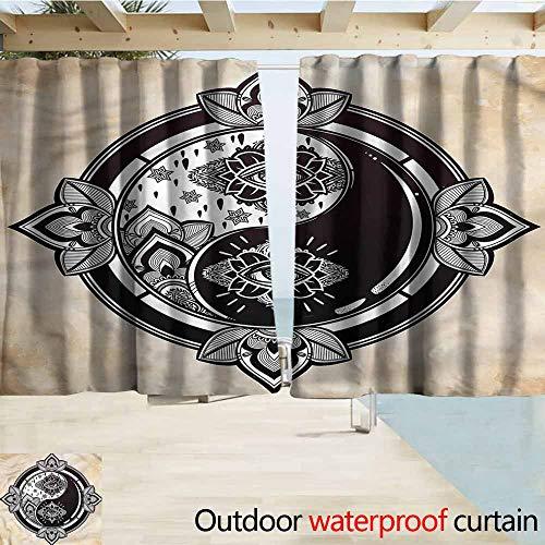 MaryMunger Simple Curtain Ying Yang Third Eye Lotus Flower Simple Stylish Waterproof W63x63L Inches