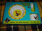 The Little Mole Krtek Eating Strawberry Kid's Dining Set of Plate, Deep Plate, Spoon, and Cup / Der Kleine Maulwurf Kinderset / Sada Nadobi Krtek / Kisvakond 4 Darabos Etkeszlet / Set-tableware 2 Plates, 1 Cup, 1 Spoon / Made in the Czech Republic 68701B