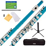 #5: Mendini Sky Blue Closed Hole C Flute with Stand, 1 Year Warranty, Case, Cleaning Rod, Cloth, Joint Grease, and Gloves - MFE-SB+SD+PB