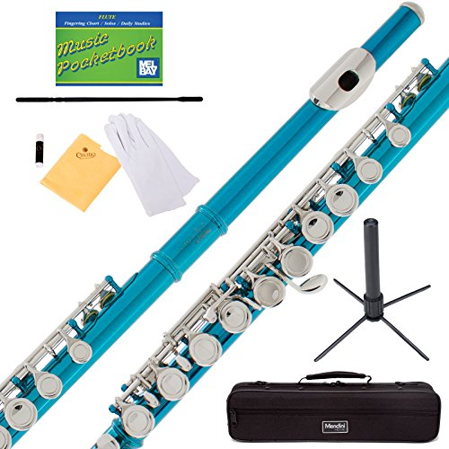 Mendini Sky Blue Closed Hole C Flute with Stand, 1 Year Warranty, Case, Cleaning Rod, Cloth, Joint Grease, and Gloves - MFE-SB+SD+PB