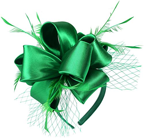 Fascinators for Women Tea Party Satin Feather Mesh Wedding Headband Kentucky Derby Headpieces(Christmas)(Green)