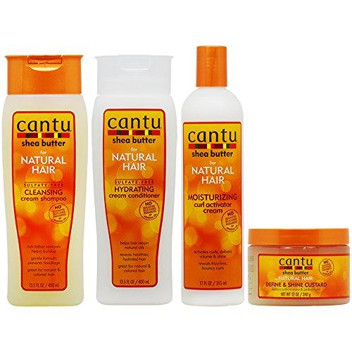 Cantu Cleansing Cream Shampoo + Conditioner + Curl Activator Cream + Define & Shine Custard