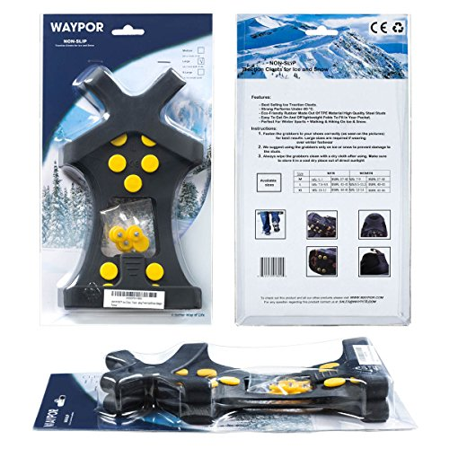WAYPOR Ice Grips, Traction Cleats, Ice Cleat, Easy Slip On, Outdoor Durable, 10 Steel Studs, Stretchable, Prevent Slipping from Ice/Snow, Extra Studs Included in Each Package. 7