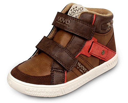 iDuoDuo Boys Contrast Color Athletic Running Shoes Waterproof Leather Short Boot Brown 1 M US Little (High Tops Racing Shoes)