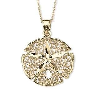 "PalmBeach Jewelry 10k Yellow Gold Sand Dollar Filigree Charm Pendant 18"""