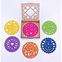 PREZENT, set de Portavasos Coasters Picados, decoración mexicana