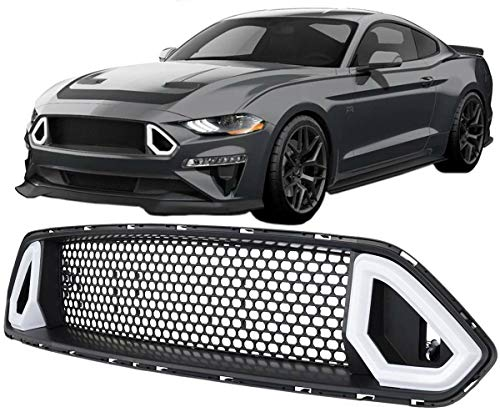 KARPAL Front Upper Mesh Grille Grill with DRL LED Light Insert Compatible with Ford Mustang 2018 up Painted