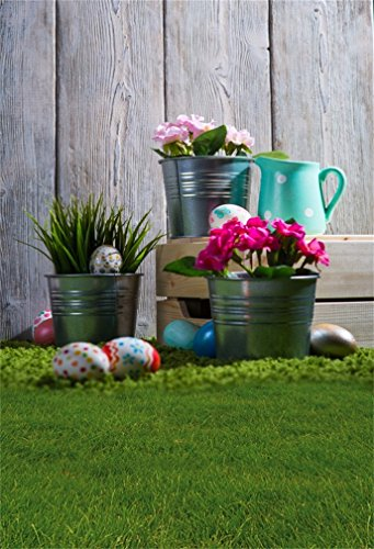 DaShan 3x5ft Photography Backdrop Easter Eggs Fresh Flowers Metal Bucket Green Grass Meadow Stripes Wood Plank Spring Photo Background Backdrops Photography Video Party Kids Photo Studio Props