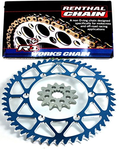 RENTHAL R1 CHAIN AND SPROCKET COMBO KIT YAMAHA YZ125 / YZ250F 13T FRONT / 48-53 TOOTH REAR SPROCKET (50, Blue)