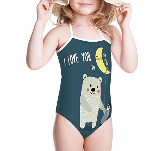 iPrint Girls' Swimsuit Best Friends Arctic Lovers Under Moon Cartoon for 7-8ages