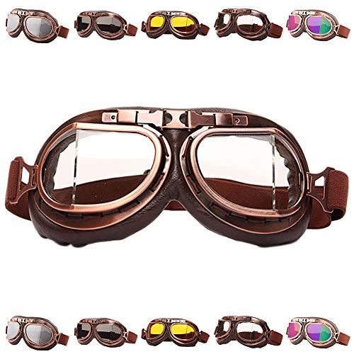 Peicees Vintage Helmet Goggles Motrocycle Scooter Cycle Mountain Bike Motorcross Cycling Goggles Retro Aviator Pilot Goggles Off-Road Glasses Eyewear(Clear ()