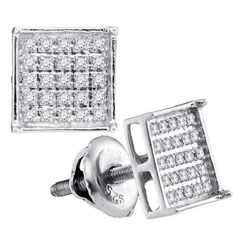 14kt White Gold Unisex Round Diamond Square Cluster Stud Earrings 1/6 Cttw (I2-I3 clarity; J-K color) (Cluster Birthstone 14kt Gold Earrings)