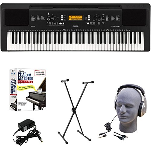 Yamaha PSR-EW300 EPS Educational Keyboard Pack with Power Supply, X-Style Stand, Headphones, USB Cable, and Instructional Software