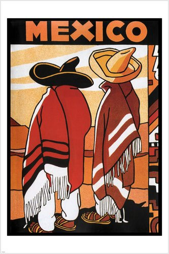 Vintage Mexico TRAVEL POSTER 24X36 senors and sombreros cult