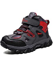 Dannto Kids Hiking Snow Boots Boys Girls Winter Fur Warm Sneakers Outdoor Walking Antiskid Shoes with Steel Buckle Sole